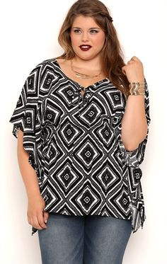 Deb Shops Plus Size Short Sleeve Tribal Print Tunic Top with Smocked Waist $12.50