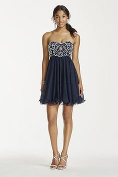 Crystal and Pearl Beaded Bodice Short Tulle Dress 55296