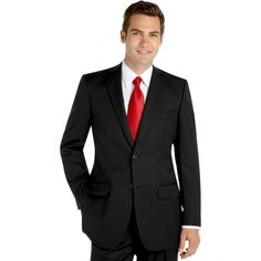 This suit is the one! The groomsmen will wear this suit with a red bow tie, white french cuff shirt and black shoes! The Groom will either wear a red bowtie or black tie.