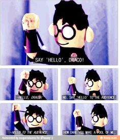 """Potter Puppet Pals- Draco's Puppet- """"How dare you make a fool of me. Harry Potter Puppets, Potter Puppet Pals, Harry Potter Puns, Harry Potter Characters, Harry Potter World, Drarry, Mischief Managed, Fantastic Beasts, Book Worms"""