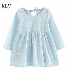 Baby Girls Dress 2017 Kids Star Printed Children's Dress Summer Beach Sundress Long Sleeve Dresses Soft Cotton Princess Dress #Affiliate