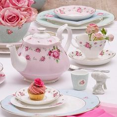 Lovely Rose Tea set and pretty pale blue china!