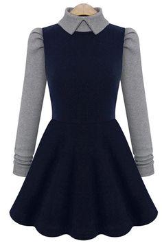 Color Block Long Sleeve A-Line Dress
