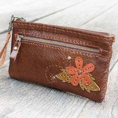 Leather Gadget Pouch with Flower in Dark Brown  by TheLeatherTH, $55.00