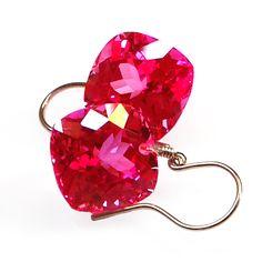 Pink Topaz Cushion Cut Solitaire Earrings