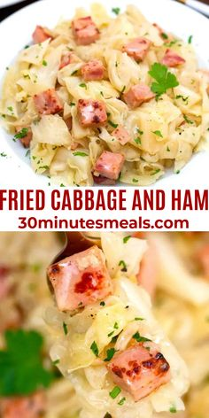 Fried Cabbage and Ham is sauteed in onions and garlic until it's tender and infused with the smoky flavors of ham. #cabbageandham #cabbagerecipes #easydinner #30minutesmeals #onepotmeals Cabbage Recipes, Ham Recipes, Side Dish Recipes, Dessert Recipes, Sauteed Cabbage, Fried Cabbage, Fast Dinner Recipes, Easy Delicious Recipes, Desert Recipes