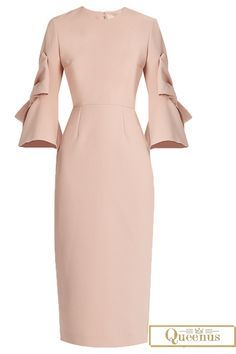 Plain Three-Quarter Sleeve Ruffle Sleeve Women's Bodycon Dress
