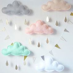 White Cloud Mobile, White cloud decor, Nursery-Children Decor- Neutral nursery by The Butter Flying- nursery decor- White nursery Girl Nursery, Girl Room, Nursery Mobiles, Pastel Nursery, Clouds Nursery, Baby Mobiles, Nursery Room, Felt Crafts, Diy And Crafts