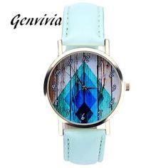 Genvivia Women Leather Analog Quartz Wrist Watch Watches Women Fashion Watch 2017 Reloj Mujer