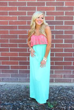 Neon Pink and Blue Ruffle Maxi Dress | cute clothing | Pinterest ...