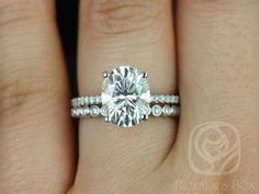 Darcy 10x8mm & Petite Bubbles 14kt Oval FB Moissanite and Diamonds Cathedral Wedding Set (Other metals and stone options available)