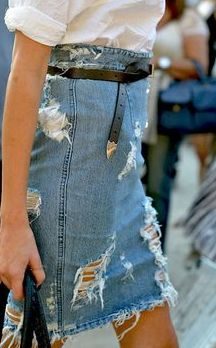 Distressed denim skirt longuette jeans