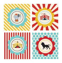 Circus Carnival Party Favor Tags - party decorations