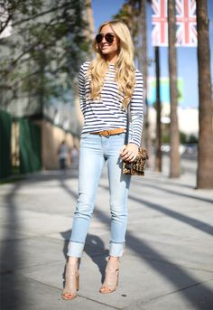 AngelFoodStyle + striped tee + light wash jeans + taupe peep toe booties