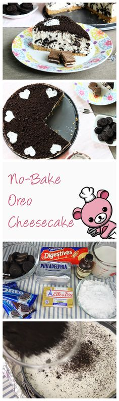 """One of my most often requests are for NO-BAKE recipes, so here's my No-Bake Oreo Cheesecake! Gelatin-free, this dessert is perfect to make if you want to wow your friends & family, but do not have a convection oven handy.    Creamy, yet light and fluffy, it is decadently addictive. Even after that last spoonful when you say """"OK, that's enough for me!"""", you'll find yourself going back for more (like the hubby did)."""
