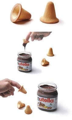 Finger food :)  Who never shaved Nutella with fingers not know what happiness is. Thinking about it, the Italian designer Paolo Ulian invented a finger biscuit to eat Nutella, which works like a thimble edible. Another one of those inventions simple but super useful. We could not find more information about the product and whether it is being marketed in other countries but definitely jars of Nutella could come with these biscuits...