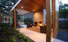 ideal for belgian summers, a wooden stove and covered area in the garden...