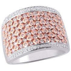 1 ct TW Natural Pink and White diamond empress ring in 14k white and rose gold.