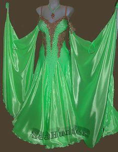 Ballroom Everday Watlz Tango Standard Dance Dress US 10 UK 12 Green Gold Color