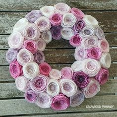 Shades of Violet Wreath. Handmade Rolled Paper Flowers in Lavender, Orchid, Purple.