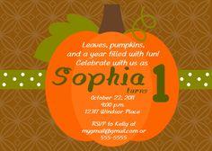 Pumpkin Birthday Party or Baby Shower Invitation... Custom, Printable, Digital. $9.50, via Etsy. Kadyn 1st Birthday