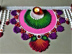 Very Easy and Beautiful Rangoli Designs For Bhai Beej Easy Rangoli Designs Videos, Easy Rangoli Designs Diwali, Rangoli Designs Latest, Simple Rangoli Designs Images, Rangoli Designs Flower, Free Hand Rangoli Design, Rangoli Border Designs, Small Rangoli Design, Rangoli Patterns
