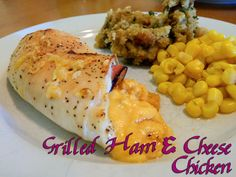 """Grilled Ham  Cheese Chicken Roll-ups. When the cravings for grilled cheese attack, fight back with these! All the deliciousness without the dreaded """"bread belly""""! WLS Meals. WLS Recipes. Eating Bariatric."""