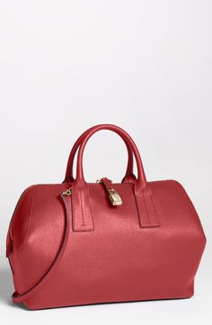 red Furla satchel.