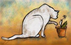 Whimsical Cat Art Cat Wall Decor Nursery Art Cat and by kaslkaos, $15.00