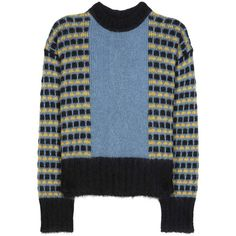 Marni Mohair-Blend Sweater ($730) ❤ liked on Polyvore featuring tops, sweaters, blue, multi color tops, multi colored sweater, marni sweater, blue sweater and marni