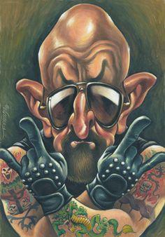 Rob Halford Music Artwork, Metal Artwork, Art Music, Arte Heavy Metal, Heavy Metal Music, Hard Rock, Funny Caricatures, Celebrity Caricatures, Rob Halford