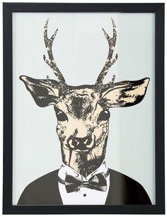 Home affaire gerahmter Kunstdruck »Reh in elegantem Anzug«, in 2 Größen ab…