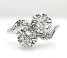 Diamond Toi et Moi  Ring, Old Mine Cut
