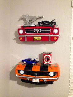 Our baby boys Vintage Muscle Car theme Nursery. #carshelves #vintagecarnursery #boynursery