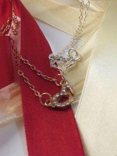 Rhinestoned Heart Charm Neckace by atLittleParis on Etsy, HKD96.00