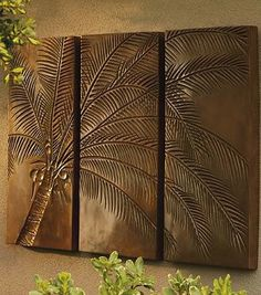 Our sculpted Palm Tree Triptych creates a vision of paradise wherever you live.