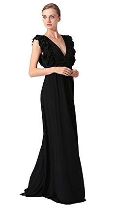 Winter Wedding Ideas - Lacle Women Sleeveless Full Long Dress Formal  Wedding Dress (Black Large d20dd2faa916