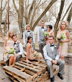 gray and peach bridal party that is what i want my men to look like and that is one of my colors but not as the brides maids dresses, it wont look good on any of my girls