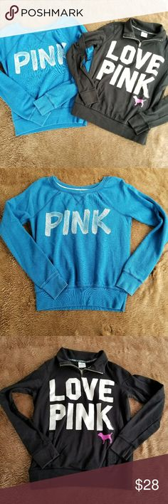 2pc PINK sweatshirt bundle Brand: PINK Victoria's Secret  Size: extra small  Color: blue crewneck. Has PINK in white looks like paint brush strokes. Some fading on the writing. Black quarter zip up. Has LOVE PINK on the front in white pink dog as well. 2 pockets. Good shape. PINK Victoria's Secret Tops Sweatshirts & Hoodies