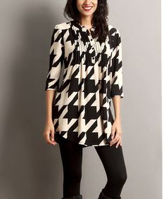 Another great find on #zulily! Black Houndstooth Notch Neck Tunic #zulilyfinds