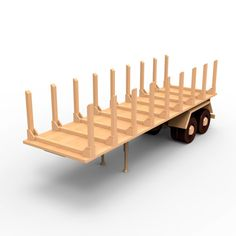Semi-trailer for russian ZIL-137 wooden truck, wood model plan set for DIY #03. PDF digital file instant download. Light wood, dark wood by WoodenArmy on Etsy