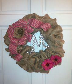 First burlap wreath I made for someone to put on the hospital door for a baby girl !
