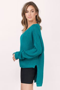 Sweaters, Tobi, Teal Some Nights Sweater