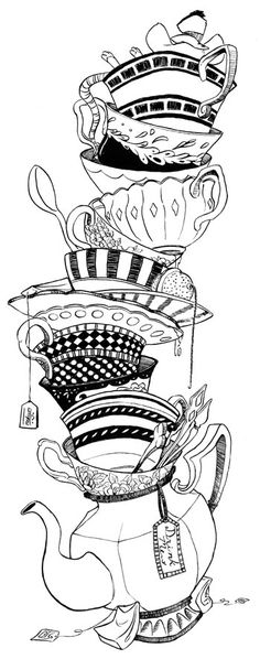 Teacups- Inks by RachelCurtis.deviantart.com on @DeviantArt