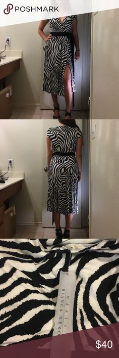 Dress Maria Bianca Nero zebra, tea length, wrap dress size medium. New with tags, never worn. maria bianca nero Dresses Midi