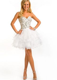 Glamorous A-line Satin& Organza Sweetheart Sleeveless White Cocktail/Homecoming Dresses