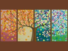 tree art. this would be fun to make a mural to teach the kids seasons