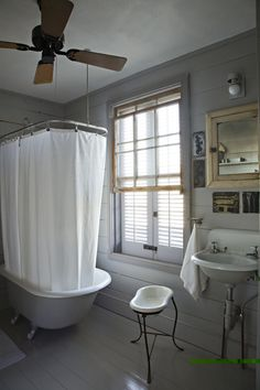 Bathroom belonging to artist Mary Cooper in a 19th-century Creole cottage in New Orleans.