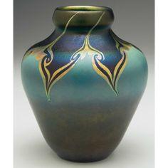 Tiffany Studios, New York, Iridescent Favrile Glass vase.