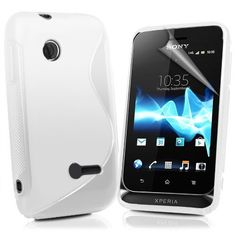Londonmagicstore® Gadgets White S Line Wave Gel Case Cover for Sony ST21i Xperia Tipo + Screen Protector - Part of the AIO Accessories Range by AIO®